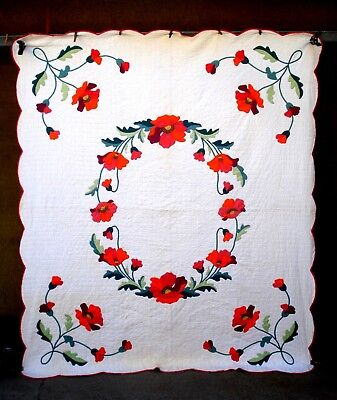 Vintage 1930's RED orange FLOWER APPLIQUE floral QUILT