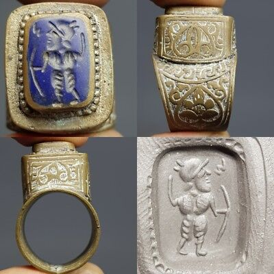 Wonderful Old Lapis Hunter intaglio  STone Bronze Lovely Ring #H