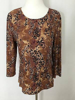 Carducci Brown Print 3/4 Sleeve Soft Blouse Women's Size M