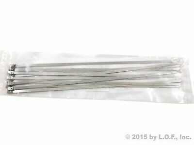 """10 Pcs Chrome 12"""" Stainless Steel Header Wrap Straps Self Locking Zip Cable Ties"""