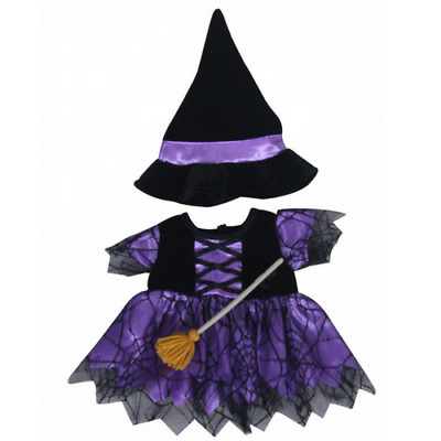 "10"" PURPLE WITCH HALLOWEEN TEDDY CLOTHES FITS 8""-10"" (25cm) TEDDY BEARS"