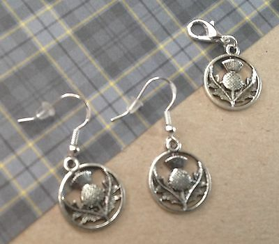 Scottish Thistle Earrings on Sterling Silver Hoops and Matching Charm