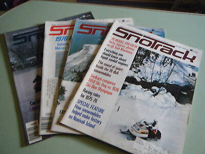 4 Vintage SnoTrack Snowmobile Magazines from 1975 & 1976
