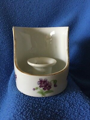 Antique Porcelain Taper Candle Holder with Handle, Gold Lea Trim & Purple Flower