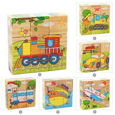 3D Puzzle educational toys Six Sides 9Pcs Wooden Baby Kids Transportation Jigsaw