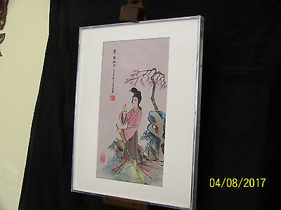 Chinese School Guan Yin Court Lady Original Ink & Water Color Silk Signed Seal