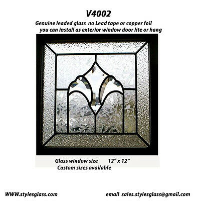 Leaded  glass  with bevel  cluster  & Texture art glass Window V4002 WOW