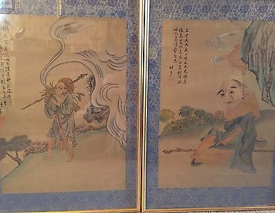 Stunning Pair Of Chinese Paintings On Silk 1950's/60's. Signed.