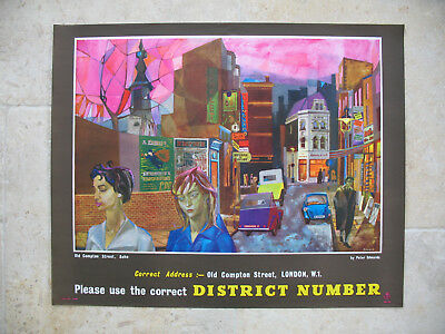 Original 1960s GPO Poster Old Compton Street Soho Peter Edwards Correct District