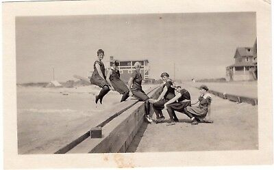 Vintage Original B&W Photo - Bathing Beauties on See Saw by the Seaside - 1920's