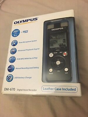 Olympus DM-670 Digital Voice Recorder Brand NEW Plus FREE Leather Case UK Seller