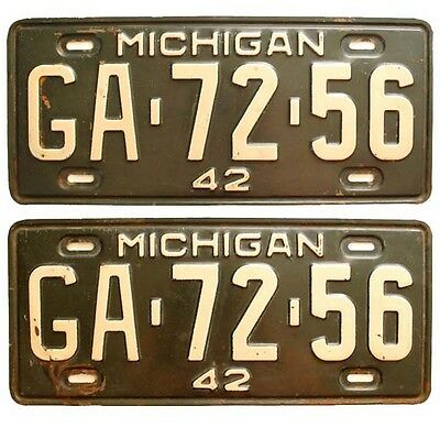Michigan 1942 License Plate Pair, Genesee County, High Quality WW2-Era Antique