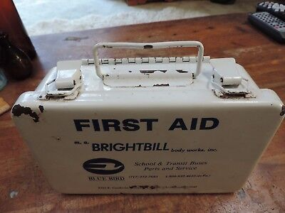 Vintage Brightbill metal first aid box from Bluebird buses