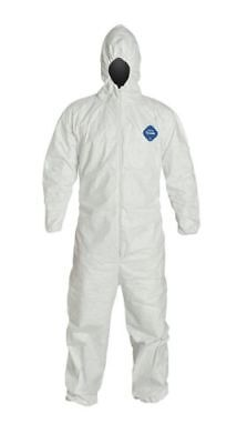 DuPont Tyvek TY127S Disposable Coverall with Hood, Elastic Cuff, White, 2XL, 5PK