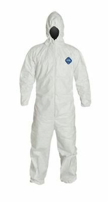 DuPont Tyvek TY127S Disposable Coverall with Hood, Elastic Cuff, White, 2XL, 1PC