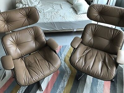 Pair Of Original Plycraft Eames Style Lounge Chairs In Tan