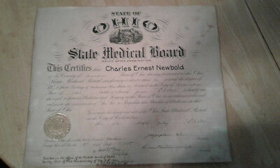 1925 Doctor of Medicine Diploma, Ohio Medical Board and Doctors Office Sign