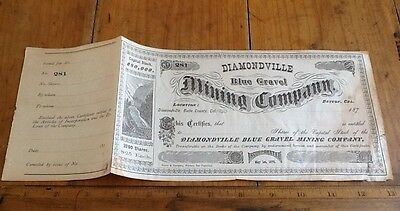 Old Stock Certificate Shares Diamondville Blue Gravel Mining,1875 Butte County