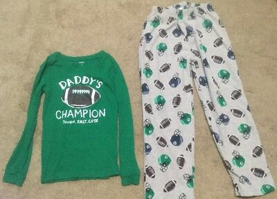 "Boys Size 7 Carter's ""Daddy's Champion"" 2PC Long Sleeve & Fleece Pants Pajamas"