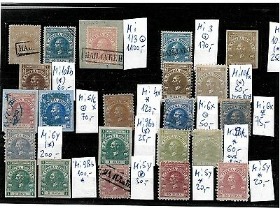 Serbia 1866/68, prince Mihailo, lot stamps up to 40 para, MH/(MH)/Used