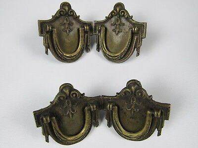 "Vintage 4 Brass Colonial Provincial Dresser Drawer Pulls Handles 2.5"" x 2.5"""