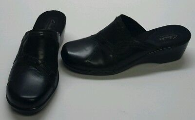 CLARKS Bendables Women's Size 9M Black Leather Mules Slip On Shoes