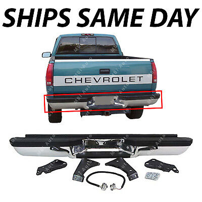 NEW Chrome Steel Rear Complete Bumper for 1988-2000 Chevy & GMC C K 1500 & 2500
