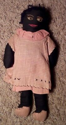 Antique Cloth Black Americana African American Folk Art Doll Rag Stuffed