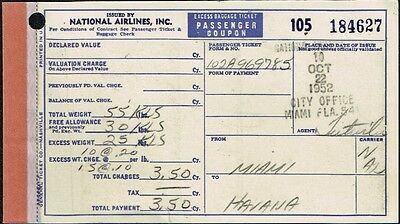 National Airlines Us Aviation Passenger Excess Baggage Ticket 1952