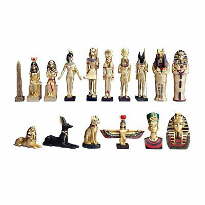 Set of 16 Ancient Egyptian Gods Mini Figurine Tut Bastet Osiris Ra Anubis Decor