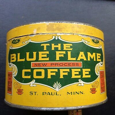 Vintage Advertising Coffee Can The Blue Flame St. Paul Minnesota Empty 1 Lb size