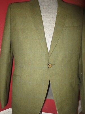 Perfect Vintage 60's Rat Pack Woven Plaid Wool Suit 44 R Olive Green
