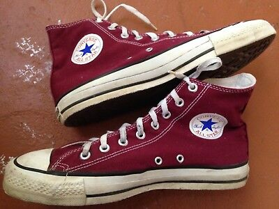 Vintage Converse Chuck Taylor Shoes Made In USA Mens Size 9 Maroon Color