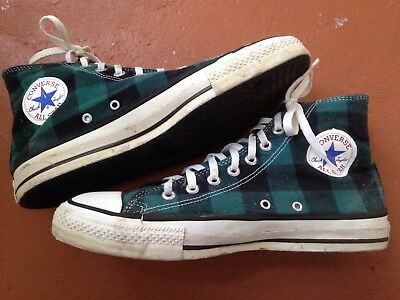 Vintage Converse Chuck Taylor Shoes Made In USA Black/Green Plaid Size 9.5