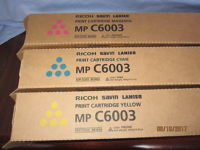 Ricoh MP C6003, 3-Genuine Toners OEM, 841850, 841851, 841852, Y, M, C