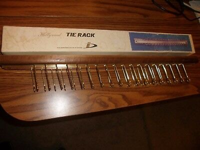 "Vintage Hollywood Tie Rack  19"" Lg Neckties Scarf Belt Crafts Wood Base"