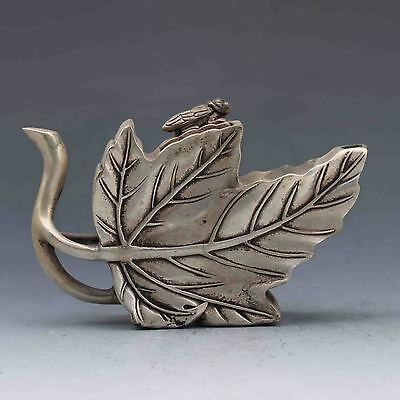 Exquisite Tibet Silver Hand-carved Leaf Teapots w Ming Xuan De Mark a8031
