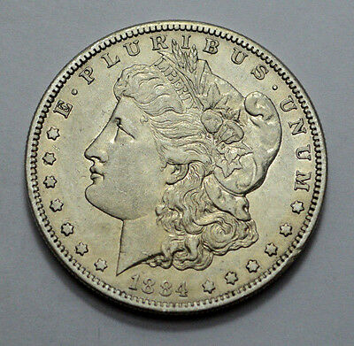 SCARCE 1884-S AU / UNC / MS  RARE KEY DATE US Morgan Dollar Silver Old Coin, $1!