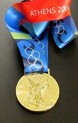 Gold Medal - 2004 Athens Olympics - With Silk Ribbon & Storage Pouch