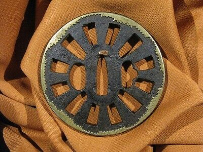 16/17th C.  WATER WHEEL HEIANJO KATANA TSUBA - Japanese Samurai Sword  Menuki
