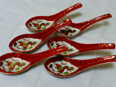 Vintage Chinese Export Porcelain Dragon Spoon, MARKED LOT OF 6
