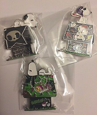 3 Tokidoki x Peanuts SDCC 2017 Enamel Lapel Pin Snoopy Dog House Set