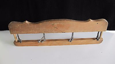 "Antique Idaho Wall Mount Hat / Coat Hook Rack With 4 Cast Iron Hooks ~ 21"" Long"
