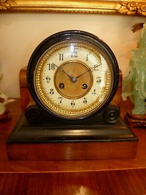 Antique French walnut Drum clock with bell chime - no reserve