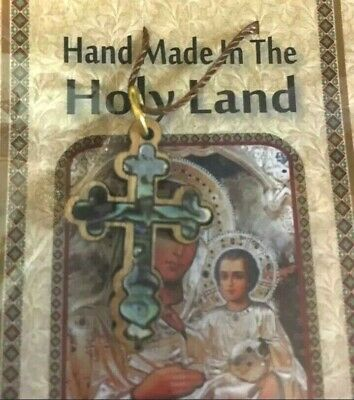 Hand Made Mother Of Pearl&Olive Wood Necklace Cross from Bethlehem The Holy Land
