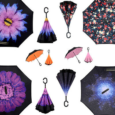 1x Windproof Double Layer Upside Down Inverted Folding Handle Reverse Umbrella