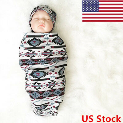 US 2PCS Unisex Infant Baby Boy Girl Romper/Cloth Wrapping Headband Outfits Set