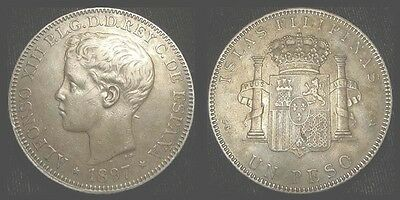 Philippines. Alfonso Xiii. Peso 1897. Nice Toning!