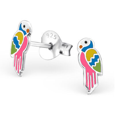 925 Sterling Silver Colourful Parrot Bird Kids Girls Women Stud Earrings