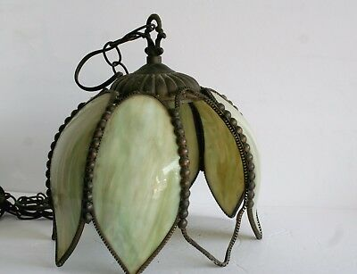 VTG Green Slag Glass Tulip Hanging Light Fixture Lamp AS IS Missing Panel